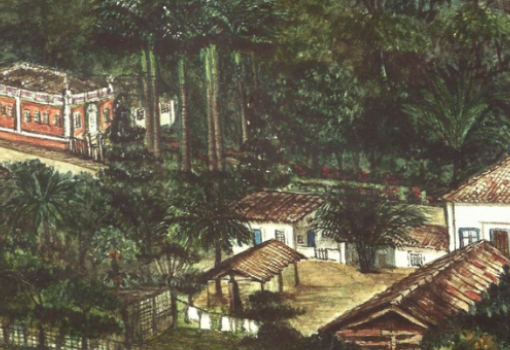 """""""Moradias no Jardim Botânico"""". Lilian Schwind. Século XIX-XX. Acervo FBN"""